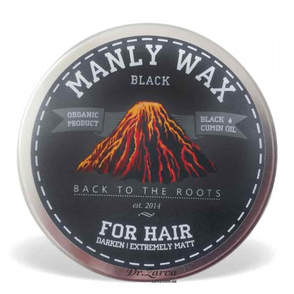 Віск для укладання волосся Manly Wax BLACK сильної фіксації 100 мл