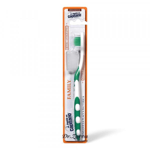Зубная щетка Pasta Del Capitano FAMILY MEDIUM средняя жесткость (зеленая)