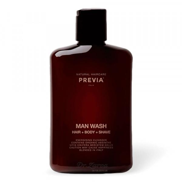 Шампунь гель для душа Previa 3 в 1 MAN WASH HAIR + BODY + SHAVE 250 мл