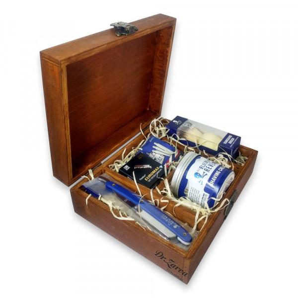 Набор для бритья с опасной бритвой в деревянной коробке The Bluebeards Revenge