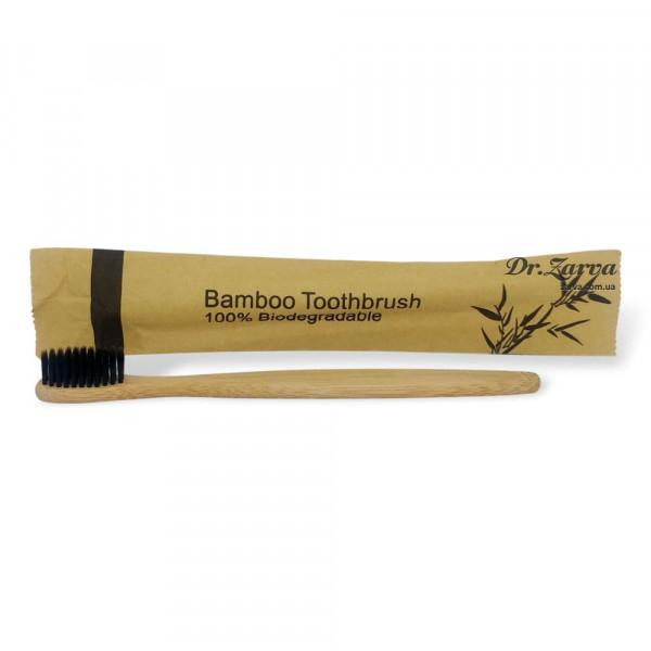 Зубная щетка из бамбука BAMBOO TOOTHBRUSH 100% Biodegradable (черная)
