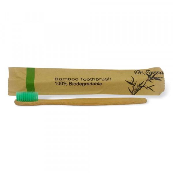 Зубная щетка из бамбука BAMBOO TOOTHBRUSH 100% Biodegradable (зеленая)