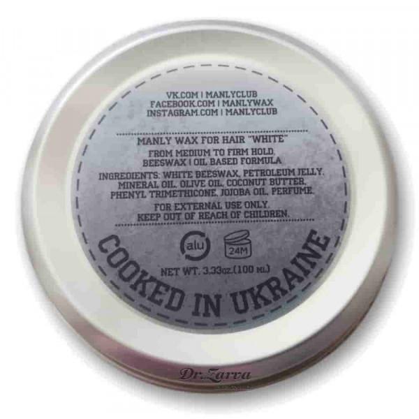 Воск для укладки волос Manly Wax WHITE сильной фиксации 100 мл