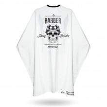 Накидка для стрижки і гоління Barber Marmara SHINY BLADES біла