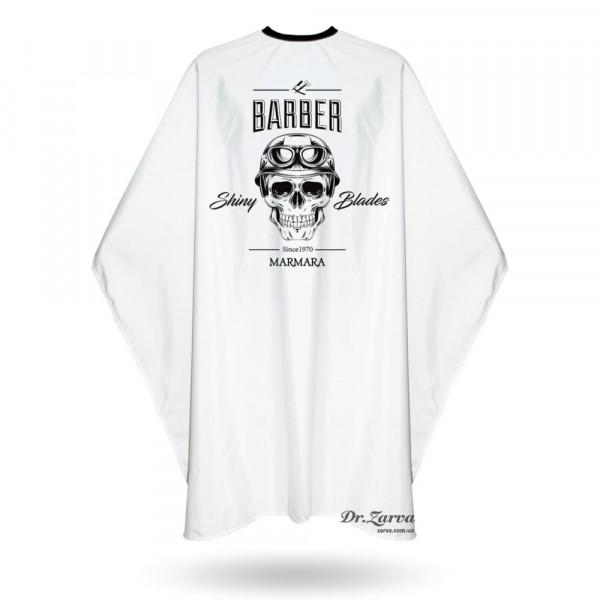 Накидка для стрижки и бритья Barber Marmara SHINY BLADES белая