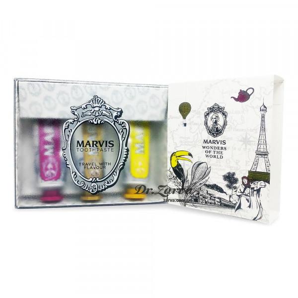 Набор зубных паст Marvis 3 вида LIMITED EDITION 3 FLAVOURS BOX - Royal, Karakum, Rambas 25 мл х 3