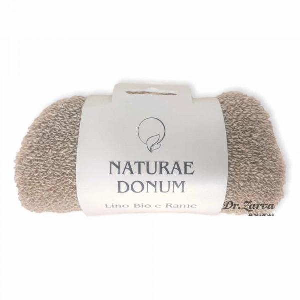 Мочалка варежка из натурального льна с медной нитью Naturae Donum LINO BIO E RAME