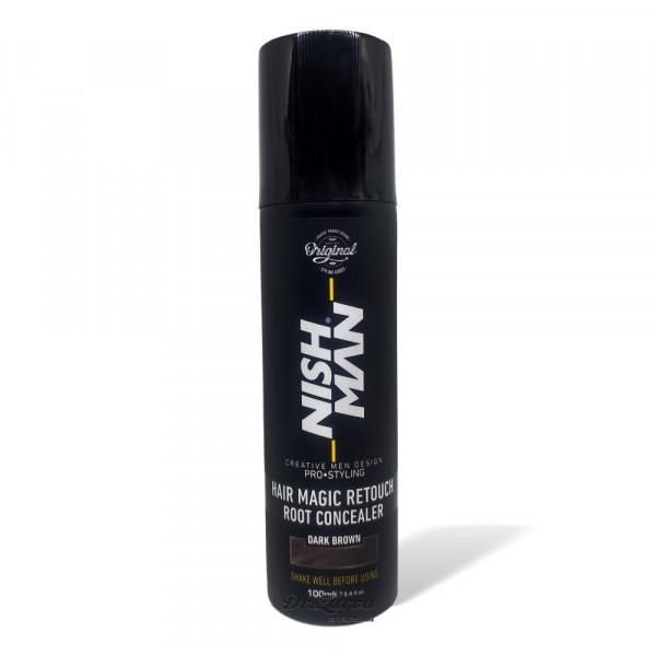 Спрей для скрытия залысин и мгновенной тонировки седины Nishman Hair Root Concealer – темно-коричневый 100 мл