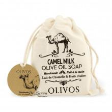 Натуральне оливкове мило Olivos CAMEL MILK з верблюжим молоком в мішечку