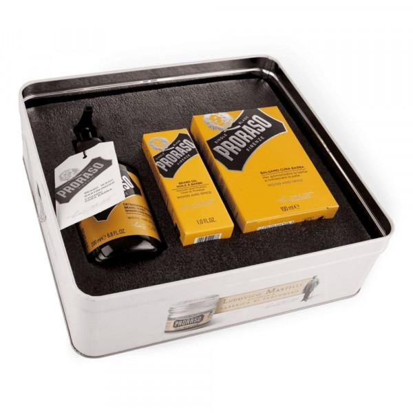 Набор по уходу за бородой Proraso BEARD KIT WOOD & SPICE в металлической коробке