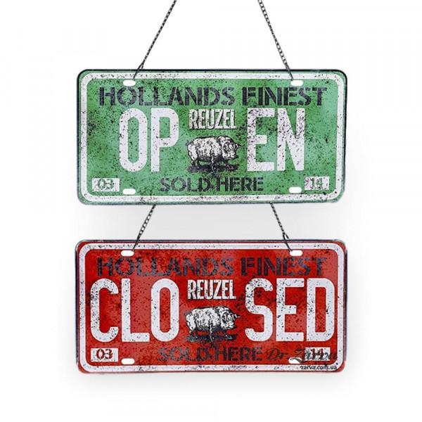 Металлическая ретро табличка на дверь в барбершоп Reuzel Open / Closed Sign
