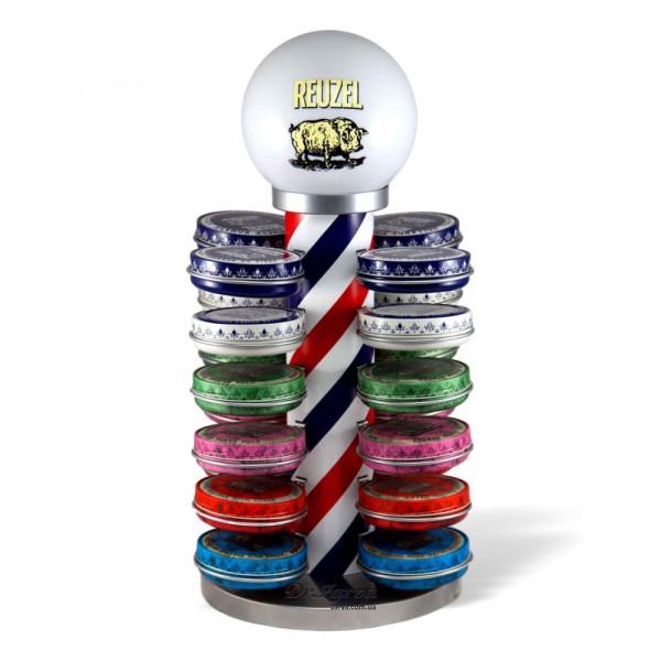 Подставка-фонарь для помад Reuzel BARBER POLE (с полным набором помад - 24 шт)