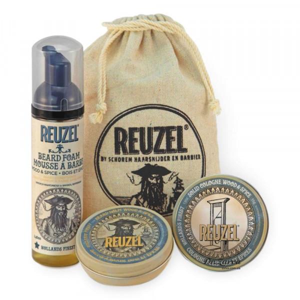 Набор Reuzel GROOM & GROW GIFT SET уход за бородой + твердый одеколон