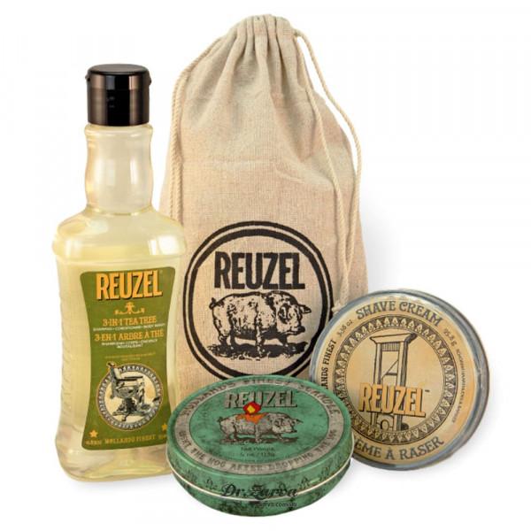 Набор Reuzel SH*T, SHOWER & SHAVE «Помылся, побрился, влюбился» (шампунь, крем для бритья и аромасвеча)
