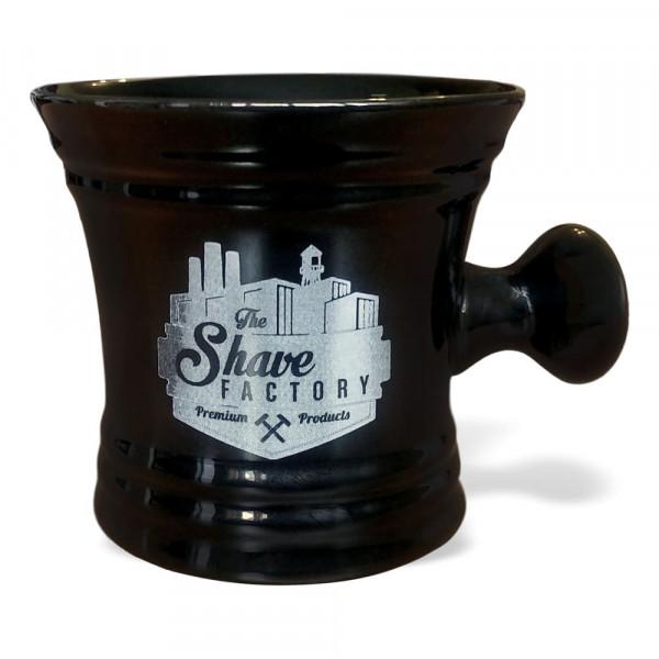 Чаша для збивання піни The Shave Factory з ручкою (чорна)