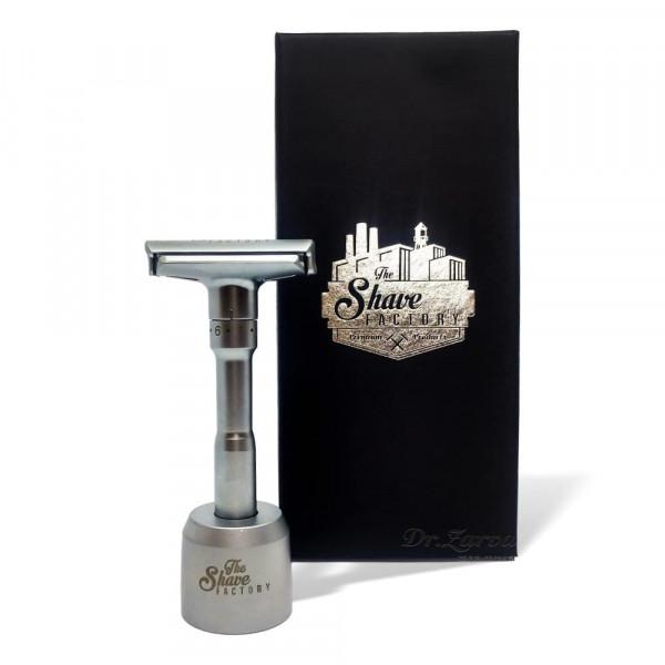 Станок для бритья Т-образный The Shave Factory Safety Razor с регулируемой высотой лезвия с подставкой