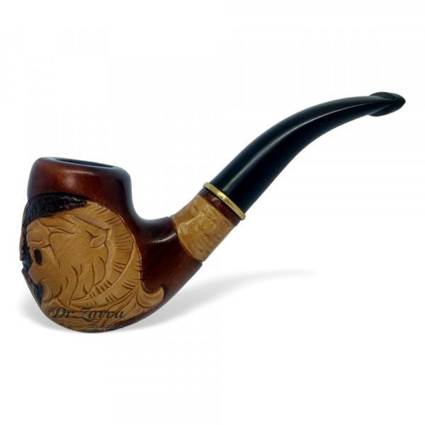 Трубка курительная из дерева груша резная ПАСТЬ ЛЬВА (с охладителем, под фильтр 9 мм)